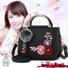 bolso de cuero con diseños florales Rebajas 1 pop Design Flowers Shell Women Tote Leather Clutch Bag Small Ladies Handbags Brand Women Messenger Bags Casual Flower Bag