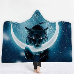 wolf print fabric Coupons - Wolf pattern 3D digital printing Hooded Blanket Fleece Wearable Throw Blanket Microfiber Black free shipping