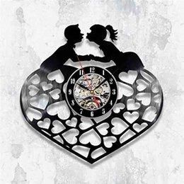 ama la pared romántica Rebajas Love Heart Shape Art Vinyl Record Reloj de pared Modern Home Romantic Decoratio Wall Decor Home Decor