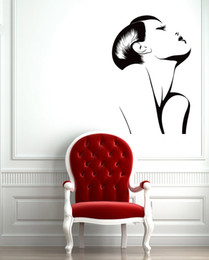 sexy decals wall art Coupons - Fashion Hot Sexy Girl Wall Stickers Vinyl Wall Decal Woman Barber Salon Spa Wallpaper Removable Design Wall Tattoo