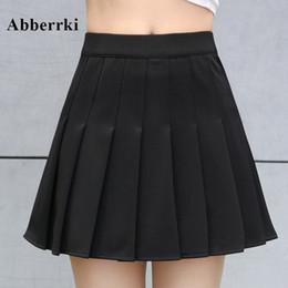Primavera y verano mujeres coreanas de cintura alta mini falda plisada falda de tenis de la escuela falda corta falda cuero cosplay desde fabricantes