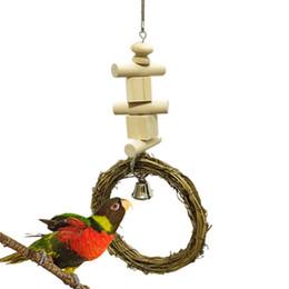 Middle E Small Parrot Articoli Vine Circle Rings Swing Scaling Scaletta Stand Frame Raw Wood Building Block Rosicchiare Giocattoli Bird Toys da dimensioni dell'anello di uccello fornitori