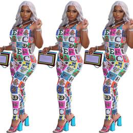 2019 mono de clubwear de una pieza Cartas del arco iris Tirantes Mono Bloque de color Mujeres Monos Mamelucos Diseñador de una pieza Tank Top Chaleco Legging Romper Clubwear C61702 mono de clubwear de una pieza baratos
