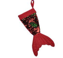 2019 goldstrumpfhalter Pailletten Meerjungfrau Schwanz Weihnachtsstrumpf Fischschwanz Weihnachtsmann Süßigkeiten Geschenk Tasche Halter Weihnachten Socken Party Dekoration rabatt goldstrumpfhalter