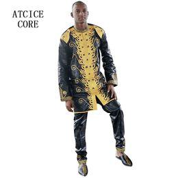 Vêtements africains de broderie en Ligne-Robes africaines pour femme bazin riche broderie conception robe homme africain vêtements LC064