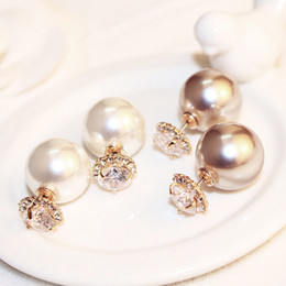 2021 neue doppelseitige ohrringe 2020 New luxury zircon pearl double-sided earrings high-end champagne pearl plated 18k gold earrings fashion temperament ladies wild earring
