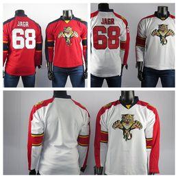 camisetas de hockey rojo en blanco Rebajas Florida Panthers jerseys el mejor jugador del bordado para hombre 68 Jaromir Jagr alta calidad Jersey Blanco Rojo jerseys del hockey sobre hielo en blanco cosido