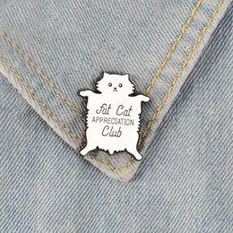2019 fette tiere Weiße Katze Emaille Pins Fat Kitten-Abzeichen Individuelle Broschen Pastel Revers Pin-Denim-Hemd-Karikatur-nettes Tier Verein Schmuck Geschenk günstig fette tiere