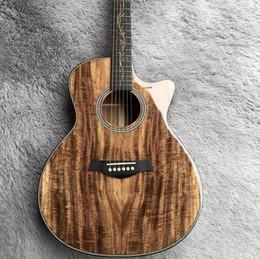 2019 guitarra de marca rosewood Sólido encargo Koa Wood Corte del cuerpo de palisandro Guitarra acústica con EQ Pickup con cabezal se puede personalizar el logotipo y diseño