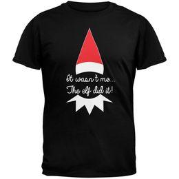 Camicie di elf online-The Elf Did It Black Maglietta per adulti Top divertente maglietta 100% cotone