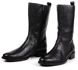 Botas de invierno para hombre cremalleras online-Cómodas cremalleras hasta la rodilla botas de invierno negras para hombre botas casuales botas de cuero genuino para hombre motocicleta