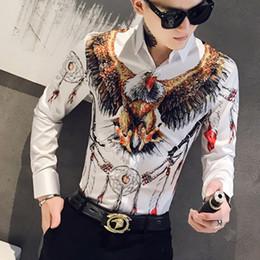 2019 платье с ящиками Конструктор 3D Eagle печати Мужчины рубашка платье с длинным рукавом повседневные Slim Fit Мужские рубашки Социальные Ночной клуб Бар Streetwear Одежда Камиза