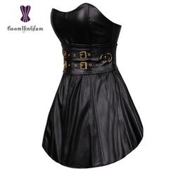vestido gótico feminino de clubwear Desconto Preto Gothic Punk das Mulheres Longo Torso Desossado Espartilho Bustier Couro Clubwear Vestido Zip Voltar 9003 #