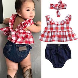 jeans vermelho bebê Desconto Menina verão xadrez vermelho sem mangas tops + calça curta + faixa de cabeça venda quente do bebê shorts jeans roupas conjunto 3 Pcs