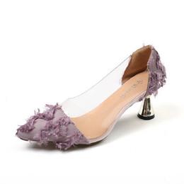 Туфли на каблуках онлайн-Дизайнерские туфли Маленькие свежие остроконечные туфли на шпильках 2019 осень новая корейская мода прозрачный маленький каблук сладкий дикий высокие каблуки
