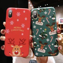 Capas protetoras bonitas do telefone on-line-Telefone de natal caso bonito papai noel animal árvore tpu capa protetora presente à prova de choque à prova de choque para iphone x xs xr xs max saco de opp
