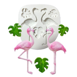 Chocolate em forma de animal on-line-Silicone Bolo Mold Flamingo bolo Mofo Branco 3D 2 Furos animal Forma Silicone Fondant Mold bolo que decora Ferramenta Moldes para Chocolate GJM48