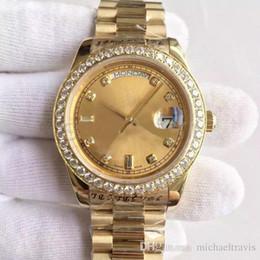 Bracelet à boucle de diamant en Ligne-Montre pour homme série DATE-218348A, cadran en or 18K, incrustation de diamants, montre mécanique automatique, bracelet pour président, boucle déployante d'origine, vendue