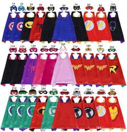 2019 trajes indios americanos 70 * 70 cm de doble cara de superhéroe Capas y máscaras para niños de calidad superior 30 Opciones Niños Dibujos animados Capas Fiesta de disfraces de Halloween