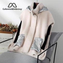 Chaleco de piel sintética online-GolomiseImbettuy Real / Genuino Compuesto Cordero / Chaleco de piel de lana / Chaleco con forro de cuero de gamuza sintética