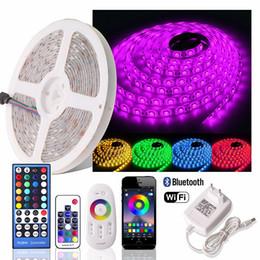 2020 rgb do bluetooth 5 M 300 LEDs RGB RGBW Flexível Luz CONDUZIDA Tira Não-Impermeável Fita Fita LED RGB + luz de WiFi / bluetooth / 2.4 g / rf remoto + adaptador de energia desconto rgb do bluetooth