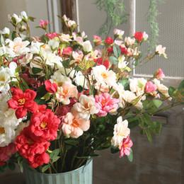 flor rosa china Rebajas 7 Tenedor de seda rosa flor tallo simulación chino Rose 6 color para la boda centros de mesa decorativos Artificial flor