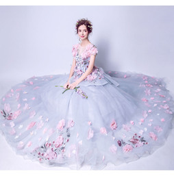 Fleur d'éventail bleue en Ligne-Déesse Fan Er éclate fée audience complète bleu-gris diamant en trois dimensions fleurs mariée traînant robe de mariée