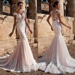 Vestidos De Casamento Da Sereia do laço completo 2020 Moda 3D Floral Apliques vestido De Noiva Sheer Crew Neck Mangas Ilusão Botão Voltar Vestidos de Fornecedores de vestidos de casamento trompete pnina