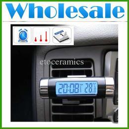 Atacado LCD tela azul luz traseira mini carro auto termômetro calendário relógio digital tempo e data com clipe de anexo Frete Grátis de
