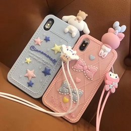 3d soft case cat Promo Codes - Lovely 3D lanyard Cute doll Japan Cartoon cat My Melody Soft Silicon Case for iphone X XR XS MAX 7 8 6s 11 Pro plus pink cover