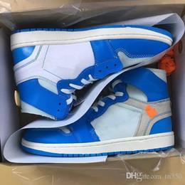 Совместно подписанные High OG 1s Chicago Mens Shoes UNC 1 Poder Синие белые синие красные кроссовки Северная Каролина Женские кроссовки с коробкой cheap north carolina shoes от Поставщики северная каролина обувь
