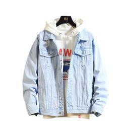 Джинсы chaqueta онлайн-Мужская джинсовая куртка Мужская повседневная куртка-бомбер высокого качества Man Vintage Jean Jacket Пальто Уличная одежда Chaqueta Hombre 3XL