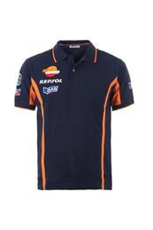Wholesale Moto GP HRC GAZ T shirt Polo Repsol Design Motocycliste Coton occasionnel Polo court T shirts GP Shirts T shirt de sport