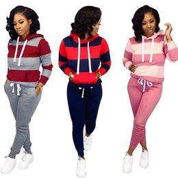 Pembe Kadın Eşofman Çizgili Baskı Rahat Eşofman 2 Parça Set Uzun Kollu Hoodies Bodycon Pantolon Tasarımcısı Güz Kış Giyim Jogger Suit cheap pink woman s suit nereden pembe kadın s takım elbise tedarikçiler
