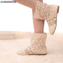 9d1d41d1849 CHIRARROSE Mujeres Cut-Out hueco de punto de gasa botas de punta redonda  Otoño Botas Womens Bohemian Mesh Flats zapatos de verano