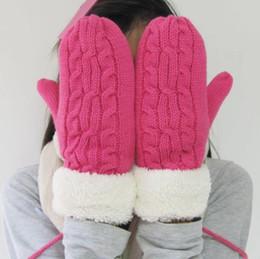 Canada Laine Acrylique Hiver Dpuble Couche Cachemire Épaisse Laine Adulte Chaud Tricot Twist Gants Doigts Complets Doigt Gants Doux Lady Fourrure Mitaines Avec Longue Corde Chaud Offre