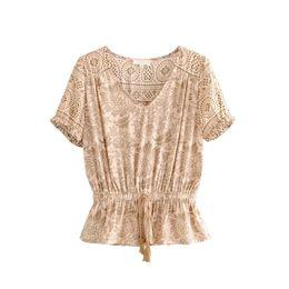 blusa de camisa de ropa de playa Rebajas Blusa de playa bohemia 2019 Ropa de verano para mujer Estampado floral Vintage Holiday Seaside Tops Ruffles Boho Chic Tunic Shirts Vacation Beachwear