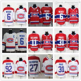 cc8850aa2 Montreal Canadiens 6 Shea Weber 31 Carey Price 92 Jonathan Drouin 67 Max  Pacioretty 11 Brendan Gallagher 27 Galchenyuk jugador de hockey Jersey  Ofertas de ...