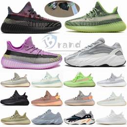 Taille 13 avec la boîte Stockx 2020 Kanye West Yecheil Noir statique Triple blanc 3M réfléchissant Chaussures de course 700 V2 Designer V1 entraîneurs