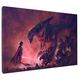 2019 pintura de paisaje popular Aliens Vs Darth Vader, impresión en lienzo HD Nueva decoración casera Arte Pintura / Sin marco / Enmarcado