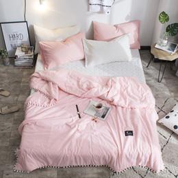 Cobertor macio de tamanho queen on-line-LOVINSUNSHINE Soft Pink lançar cobertor Com bola sólida Verão Quilt Duvet Queen Size CN01 #