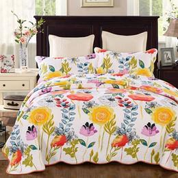 Baumwoll-blumen-bettdecke online-FLOWER Floral Baumwolle Quilten Quilts Waterwash Luxus Printed American Bedspread Bettwäsche 3pcs Bedcover Kissenbezug Set King Size