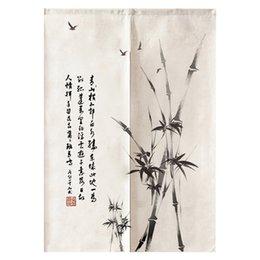 Porta di bambù online-Decorazione giapponese della stanza di Noren della tenda di Feng Shui della camera da letto della cucina della tenda di bambù dell'inchiostro cinese