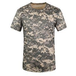 camisa de combate verde Rebajas SZ-LGFM-New Outdoor Hunting T-shirt Hombres transpirable Army Tactical Combat T Shirt Dry Sport Camo Camp Tees-ACU Green S