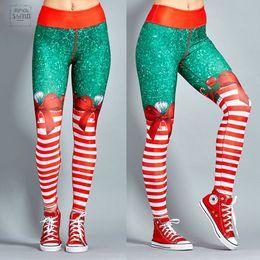 Calça de spandex vermelho on-line-Leggings de impressão estilo Leggings Mulheres de Fitness New poliéster Natal Red Digital Listrado Pants impressão Calças calças stretch
