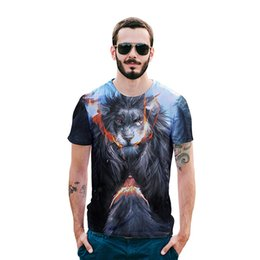 t shirts men full print Promo Codes - angry lion Animal T-Shirt 3d Eagle Lion Wolf Owl Print Summer running T-shirts Men Women Plus Size Tee Shirt Homme Dropship