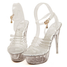 high heel steel toe shoes Coupons - Steel Tube Dancing Transparent Platform Shoes Women 2019 Summer transparent Sandals Peep Toe Nightclub High Heel Sandals Heels Big Size 43