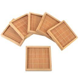 Подставка для лотков онлайн-12X Natural Bamboo Teacup Square Saucer Cup Hand Tray Craft Pad Mat 100X100Mm Gongfu  Tray Serving Table