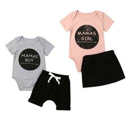 baby boy girl trajes a juego Rebajas Pudcoco MAMAS BOY GIRL Famliy Conjunto de ropa a juego Camisetas para bebés Top Pantalones cortos / faldas negros Traje de sol Trajes casuales de verano