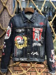 retalhos da sarja de nimes camiseta Desconto 2019 American american famosa marca masculina jaqueta jeans denim camisa denim jaqueta jeans patchwork X22